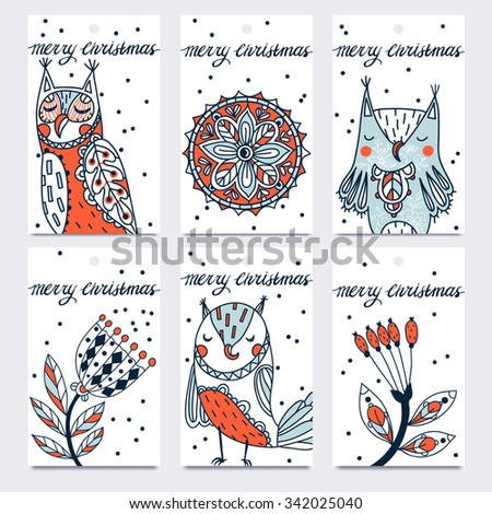 Christmas vector set of hand drawn tags with funny owls and fantasy flowers