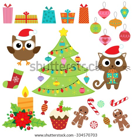 Christmas vector set with presents, sweets, tree, ornaments, owl and cat in costumes