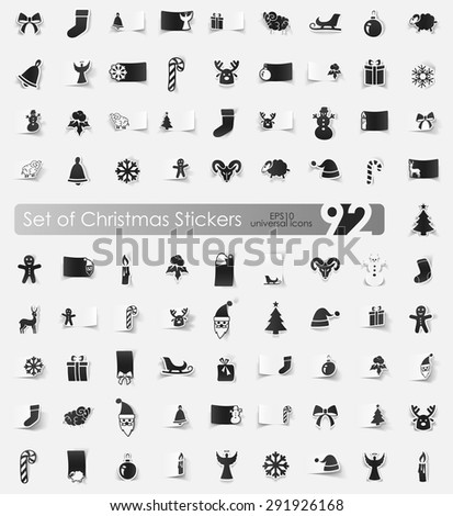 Christmas vector sticker icons with shadow. Paper cut - stock vector