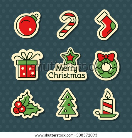 Christmas vector stickers. Set of outline Cristmas icons. Vector Illustration. Christmas and New Year concept.