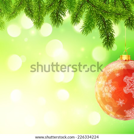 Christmas vector template with hanging red Christmas ball and fir tree branches on green bokeh light background - stock vector