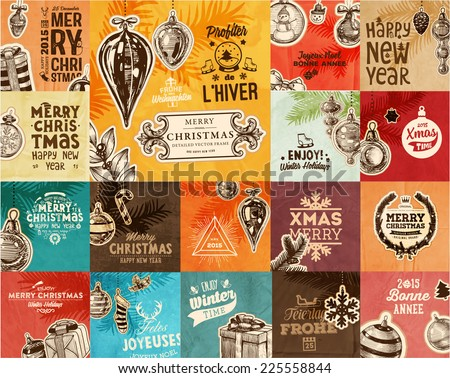 Christmas Vector Vintage Cards Set. Xmas Holiday Design, Engraving Graphic Elements. Typographic Labels for Greeting Cards, Banners and Posters Design. Old Paper Background Texture. - stock vector