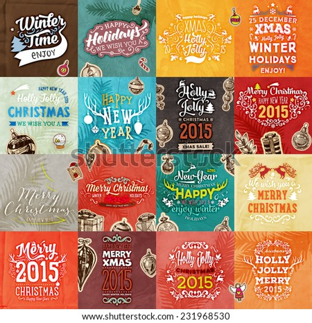 Christmas Vector Vintage Cards Set. Xmas Holiday Design, Engraving Graphic Elements. Typographic Labels for Greeting Cards, Banners and Posters Design. Old Paper Background Texture - stock vector