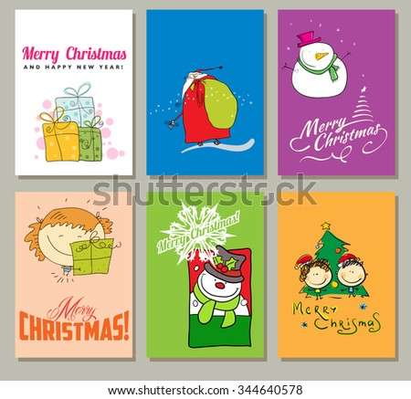 Christmas Vector Vintage Cards Set. Xmas Holiday Design, Graphic Elements. Funny character,Typographic Labels for Greeting Cards, Banners and Posters Design. - stock vector