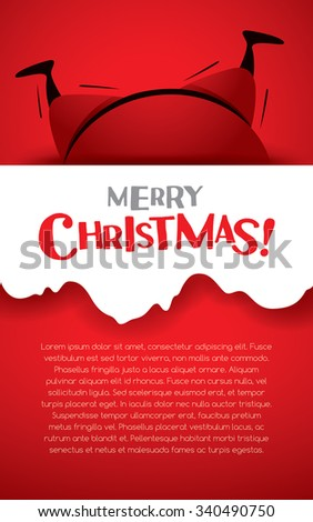 Christmas vertical banner. Santa Claus stuck in a chimney.