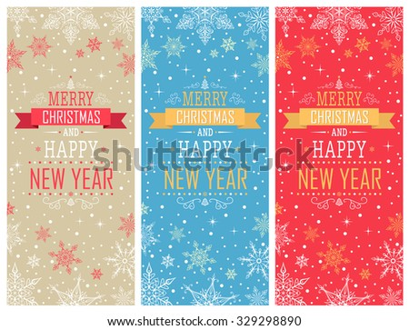 Christmas Vertical Banners - Illustration Vector Set of Christmas Cards - stock vector