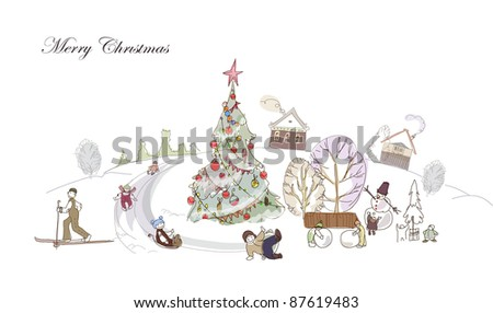 Christmas village and winter fun illustration - stock vector
