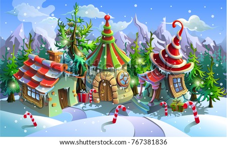 Christmas Village Of Santa Claus Fairy Houses Elves Vector Illustration