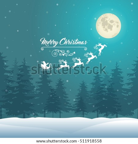 Christmas Vintage Background on Winter Landscape. Vector Illustration.
