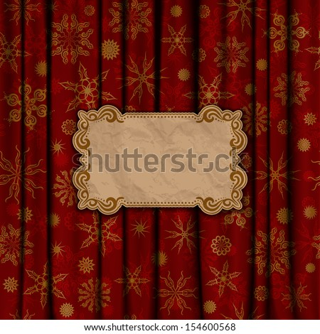 Christmas vintage background with crumpled paper frame. Gold snowflakes on a red background. Vector illustration EPS 10. - stock vector