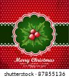 Christmas vintage background with holly berry. - stock