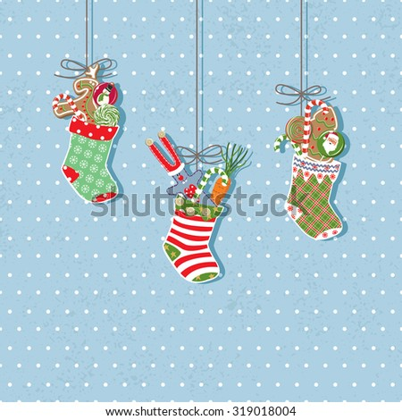 Christmas vintage card. Vector illustration Eps 8. - stock vector