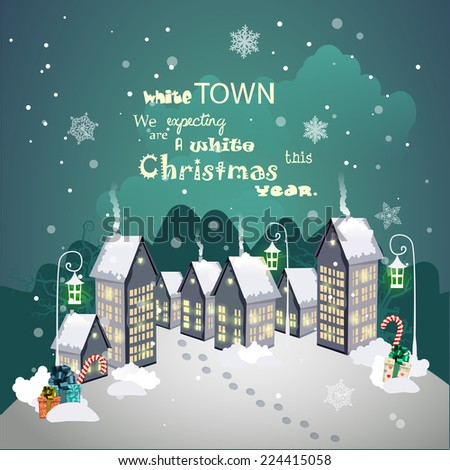 Christmas vintage card with the white town and snowfall. Detailed vector picture. New year - stock vector
