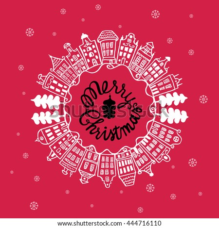 Christmas vintage card with with hand drawn lettering, urban landscape and snowflakes on red background. Vector hand drawn illustration. - stock vector