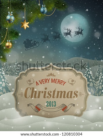 Christmas vintage greeting card on winter landscape. - stock vector