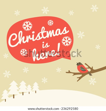Christmas vintage greeting card. Vector illustration - stock vector