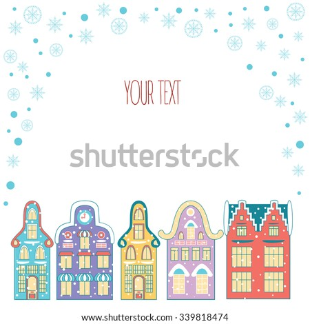 Christmas vintage hand drawn frame with the urban landscape and snowfall. Detailed vector picture in cartoon style for Xmas design. - stock vector