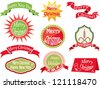 christmas vintage labels - stock vector