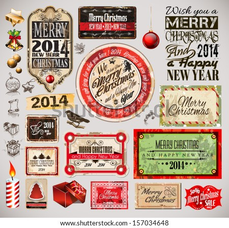 Christmas 2014 Vintage labels and typo collection. A lot of Christmas related design elements for your old style designs - stock vector