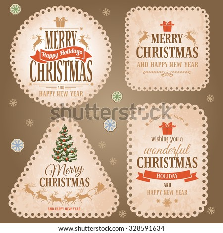Christmas vintage labels set. Beautiful cute lacy edge. Round, square, triangular and rectangular forms. Vector illustration eps10. - stock vector