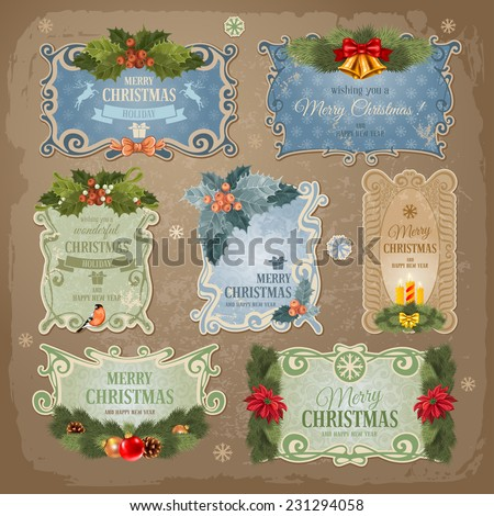 Christmas vintage labels set. Vector illustration.  - stock vector