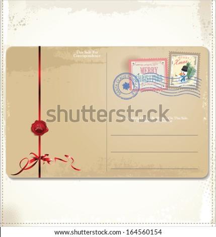 Christmas Vintage Postcard - stock vector