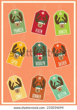 Christmas vintage poster / Christmas poster with the name tags of Santa's reindeers: Dasher, Dancer, Prancer, Vixen, Comet, Cupid, Donner, Blitzen, Rudolph / Typographic vector illustration - stock vector