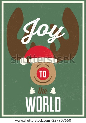 Christmas vintage poster in flat design style / Christmas poster with JOY TO THE WORLD inscription / Typographic vector illustration - stock vector