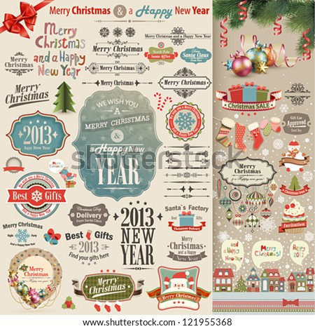 Christmas vintage Scrapbook set - stock vector