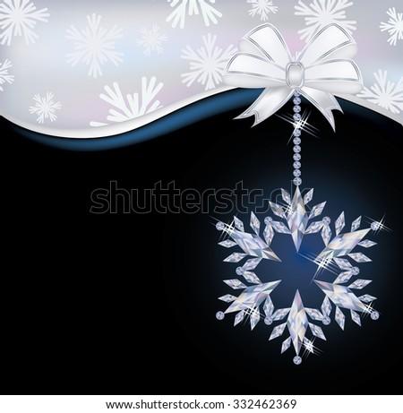 Christmas Wallpaper With Frozen Diamond Snowflake Vector Illustration