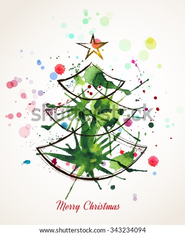 Christmas watercolor tree. Merry Christmas and Happy New Year background. Vector illustration - stock vector