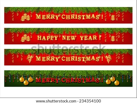 Christmas web banner set. Collection of horizontal full banners decorated with fir branches, gold lettering, paper streamer and Xmas ornaments. Vector - stock vector