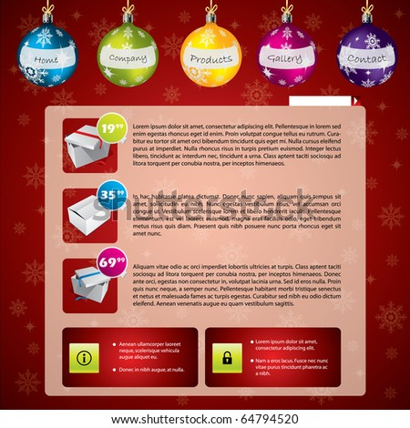 Christmas web template - stock vector