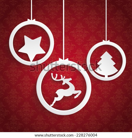 Christmas white rings on the Red background. Eps 10 vector file. - stock vector