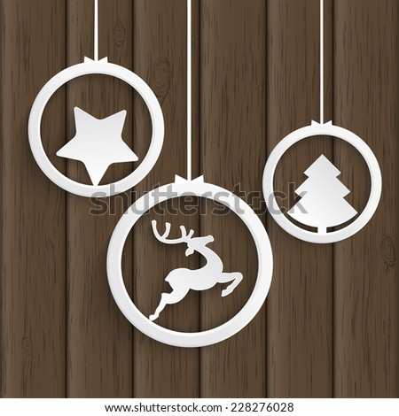 Christmas white rings on the wooden background. Eps 10 vector file. - stock vector