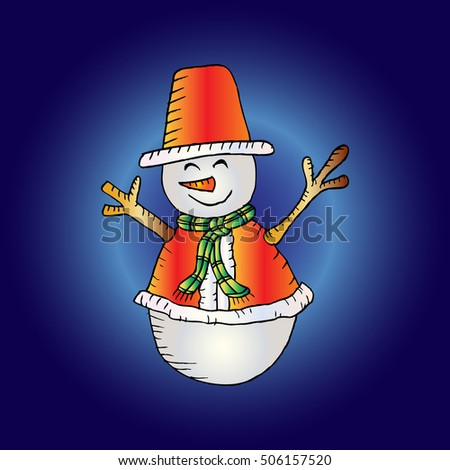 Christmas white snowman in hat and scarf.