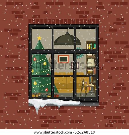 christmas brick christmas window brick wall view living stock vector 526248319