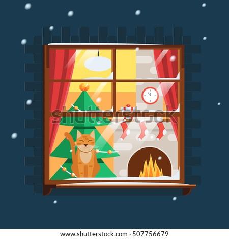 Christmas Window Christmas Tree Fireplace Cat Stock Vector