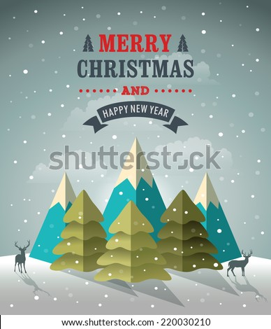 Christmas winter background and landscape. Vector illusration - stock vector