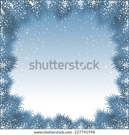 Christmas winter background with frame made of fir branches and snowflakes - stock vector