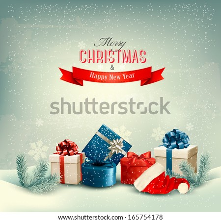 Christmas winter background with presents. Vector.  - stock vector