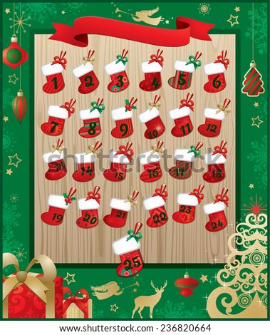 Christmas winter background with reindeer, some Christmas stockings, Tree and wooden message board for your copy. - stock vector