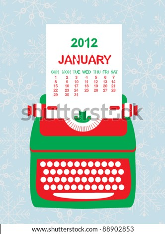 Christmas winter calendar for January with typewriter - stock vector