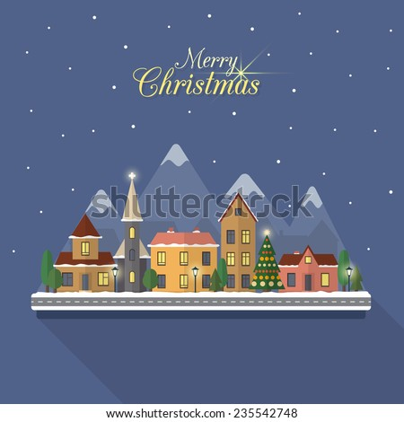 Christmas winter city street with small houses and trees and mountains on background. Flat style vector illustration. - stock vector
