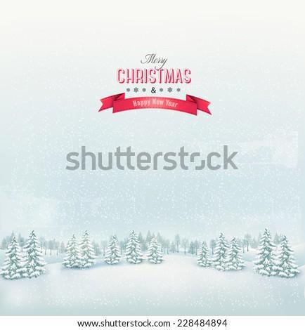 Christmas winter landscape background. Vector.  - stock vector