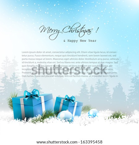 Christmas winter landscape with blue gift boxes and copyspace  - stock vector