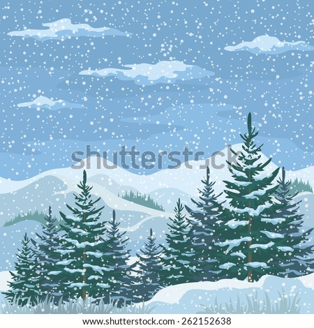 Christmas Winter Mountain Landscape with Firs Trees, Sky with Snow and Clouds. Eps10, Contains Transparencies. Vector