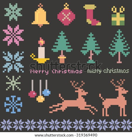 christmas winter pattern pixels  - stock vector