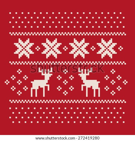 christmas winter pattern print for jersey or t-shirt. Pixel deers and snowflakes on the red background - stock vector