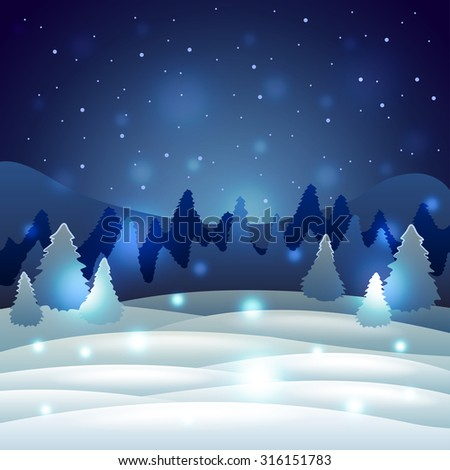 Christmas Winter scenery with snowy nature holiday vector background
